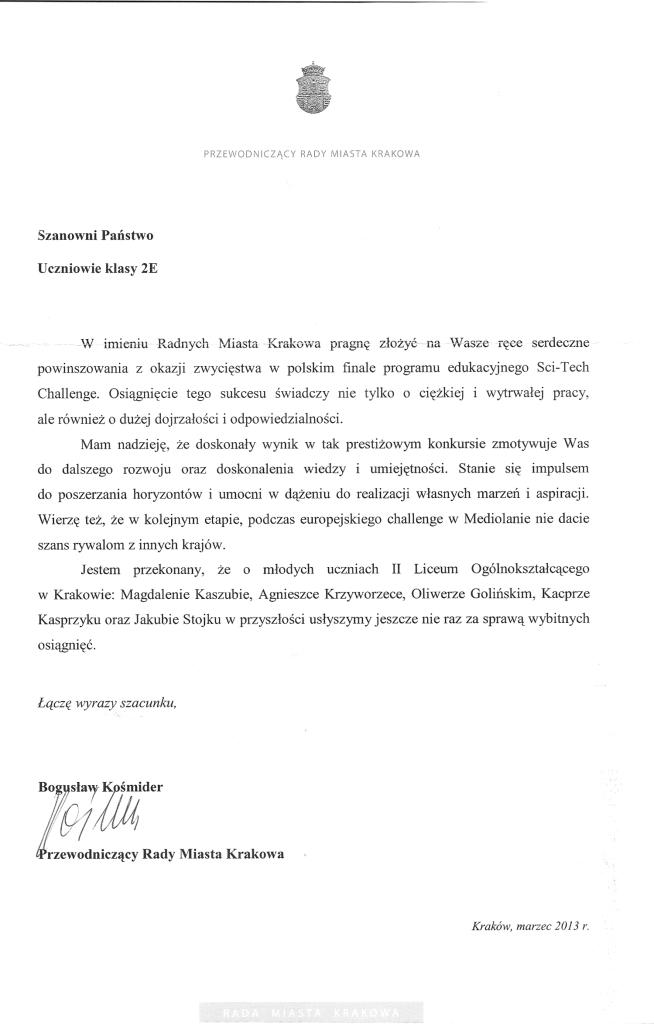 2013 list gratulacyjny Rady Miasta Krakowa