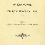 Archiwum  sprawozdanie 1906 strona tytułowa