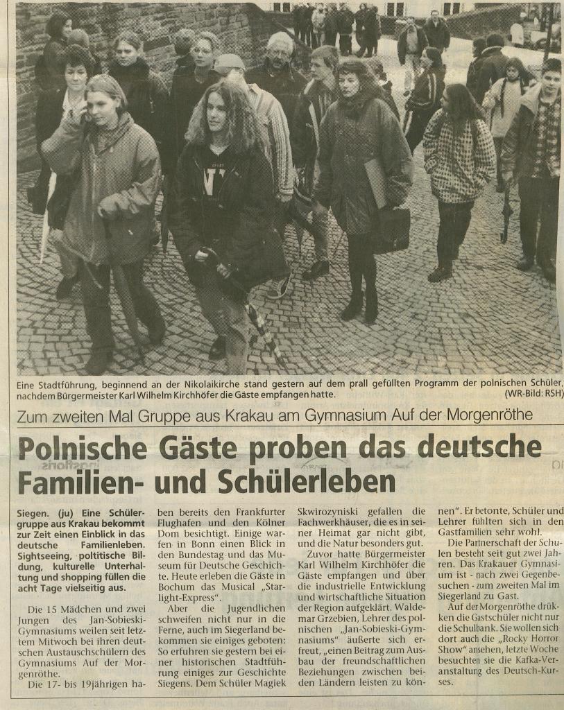 Historia Szkoły WYMIANA Siegen 1996 1997
