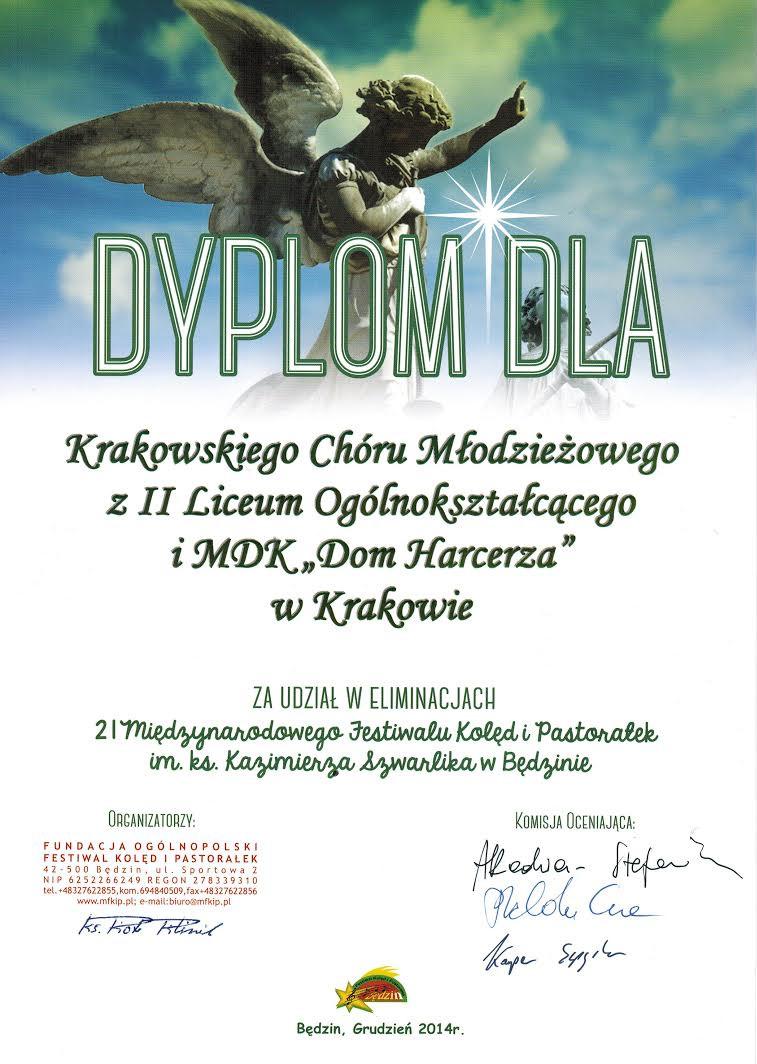 2014-12 Chór II LO list gratulacyjny