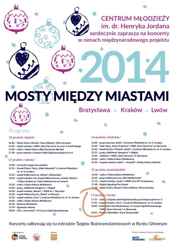 Z2014-12-17 Występ chóru zaproszenie