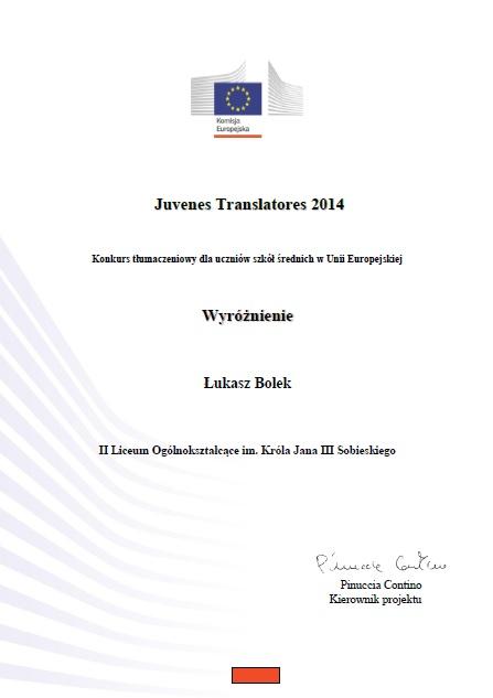 Juvenes Translatores 2014 Specjalne wyróżnienie 2