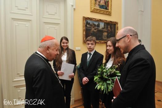 Wielkanoc 2015, wizyta II LO w Krakowie u Księdza Kardynała, zdj. Tadeusz Warczak