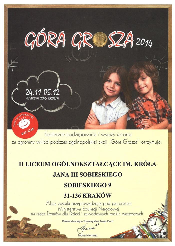 """Dyplom za akcje """"Góra Grosza"""" 2014"""
