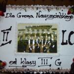 Pożegnanie klas III 2015, tort od klasy 3g dla nauczycieli