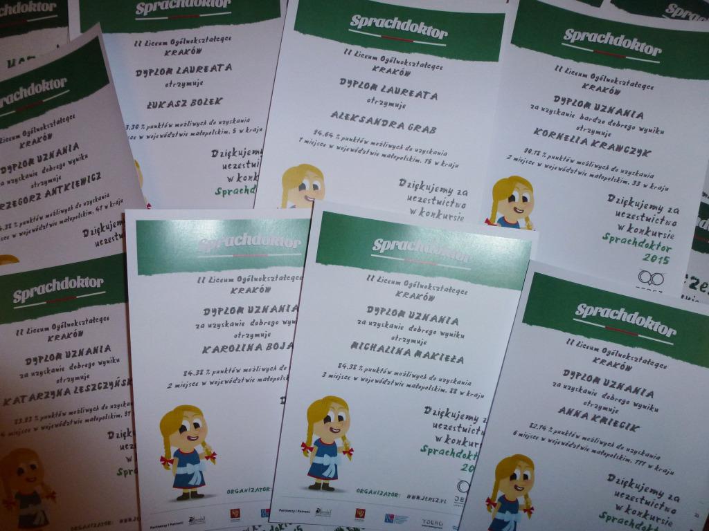 Konkurs Języka Niemieckiego Sprachdoktor 2015 - dyplomy