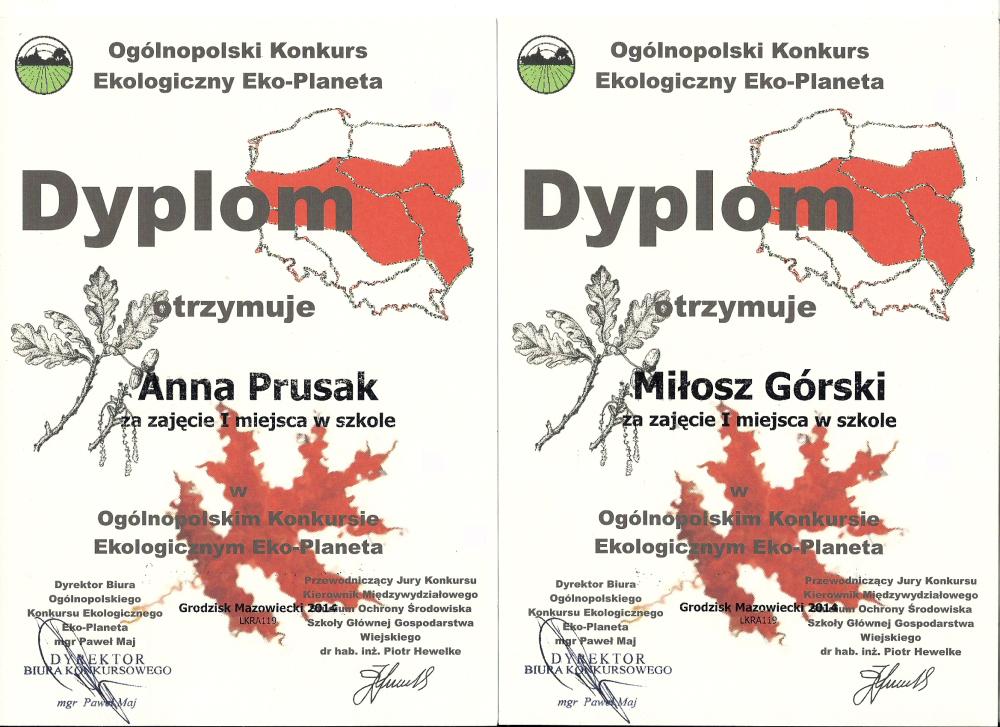 """Ogólnopolski Konkurs Ekologiczny """"Eko-Planeta 2015"""""""