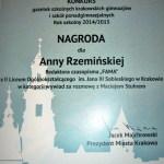 Kolejna nagroda dla szkolnej gazetki Fama - najlepszy wywiad 2015.
