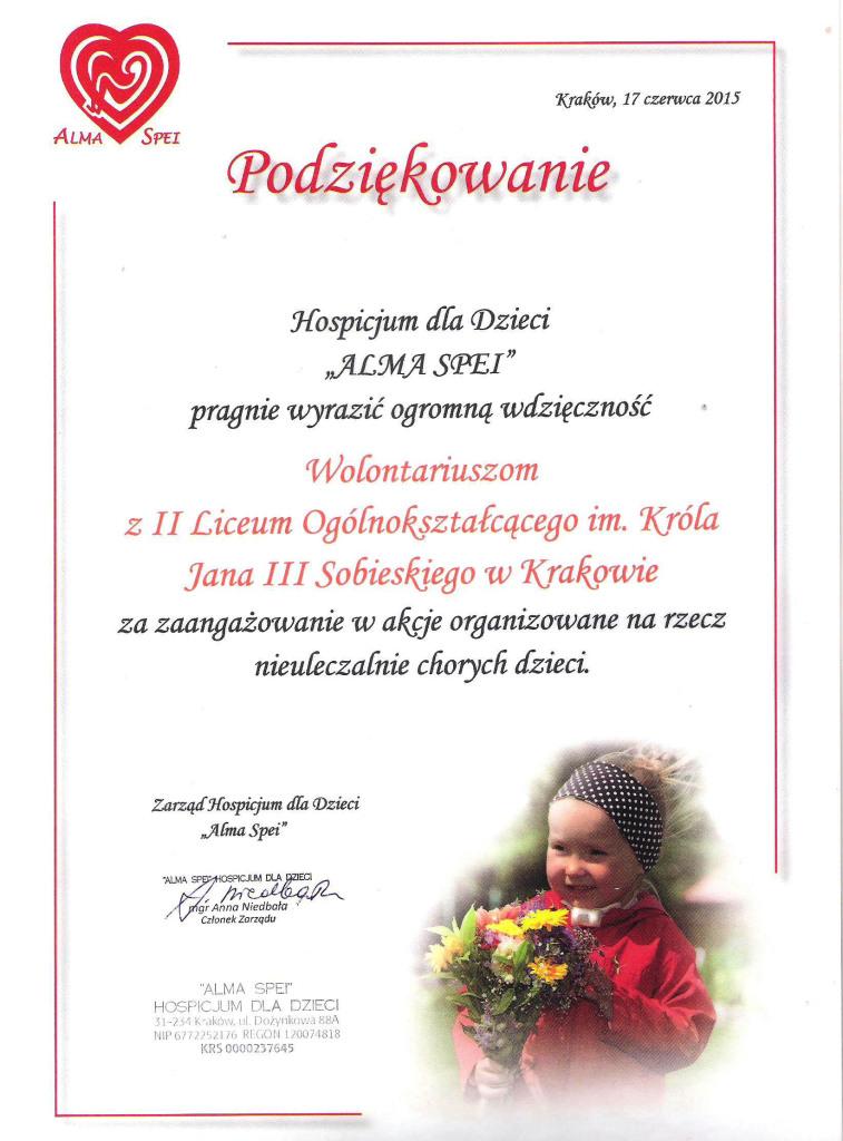 """Hospicjum Dla Dzieci """"AlMA SPEI"""" podziękowanie 2015"""