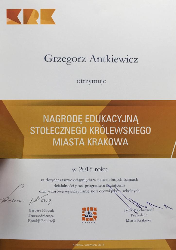 Nagroda Prezydenta Miasta Krakowa za osiągnięcia naukowe 2015.