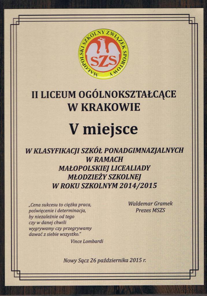 V miejsce Małopolska Licealiada 2014/2015