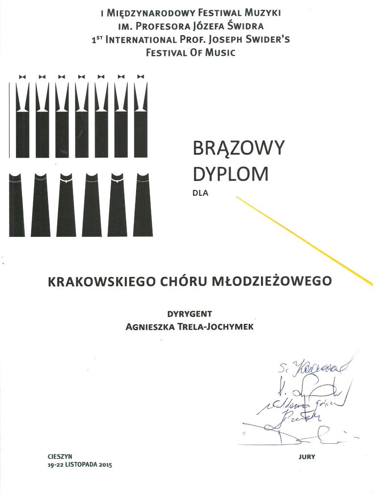 Brązowy Dyplom I Międzynarodowy Festiwal Muzyki Cieszyn 2015