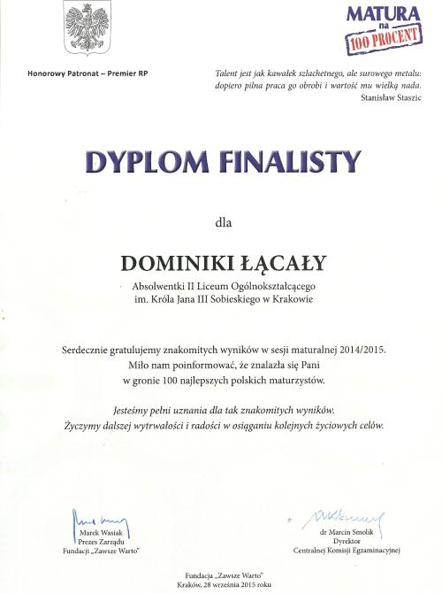 Dominika wśród 100 Najlepszych Maturzystów 2015