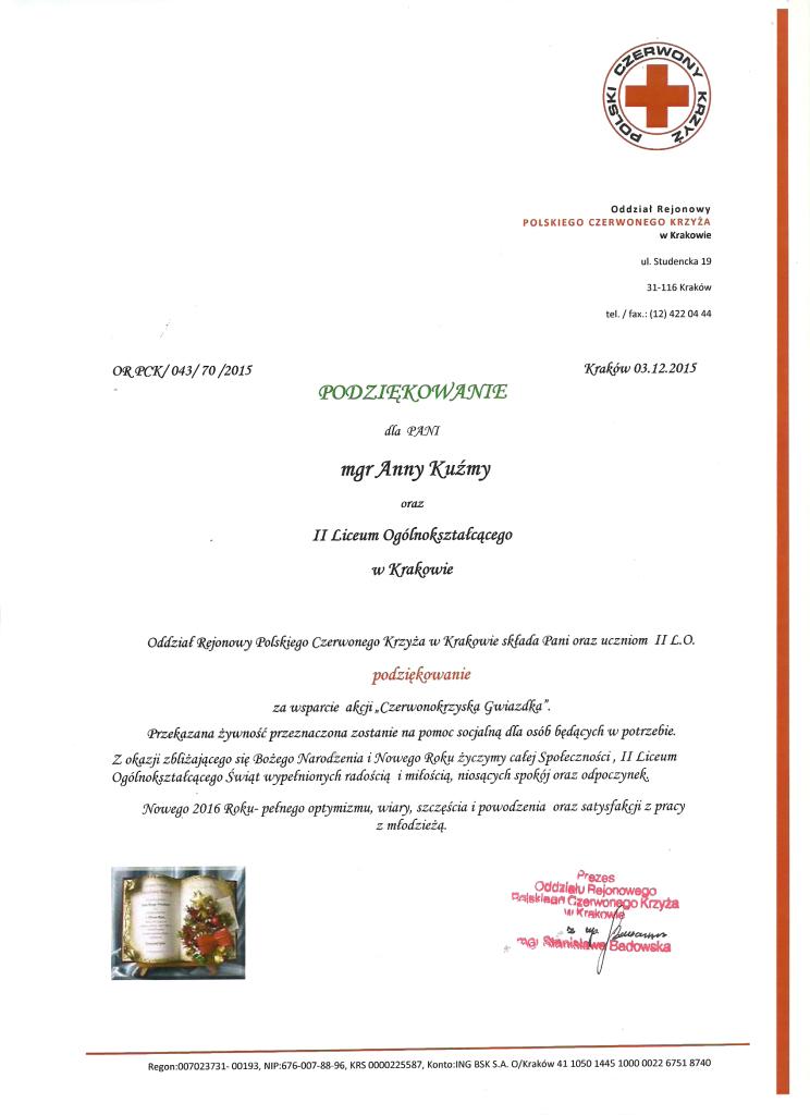 Podziękowanie PCK za udział w akcji Czerwonokrzyska Gwiazdka 2015