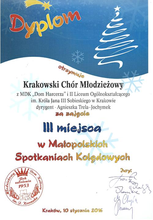 III miejsce w Małopolskich Spotkaniach Kolędowych 2016