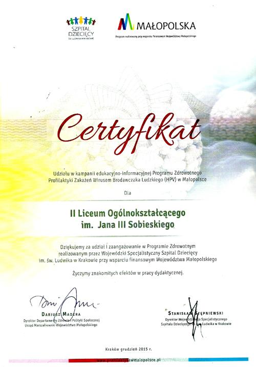Certyfikat udział w Programie Zdrowotnym 2015