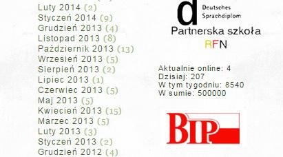Strona internetowa II LO 20.02.2016 pół miliona odsłon