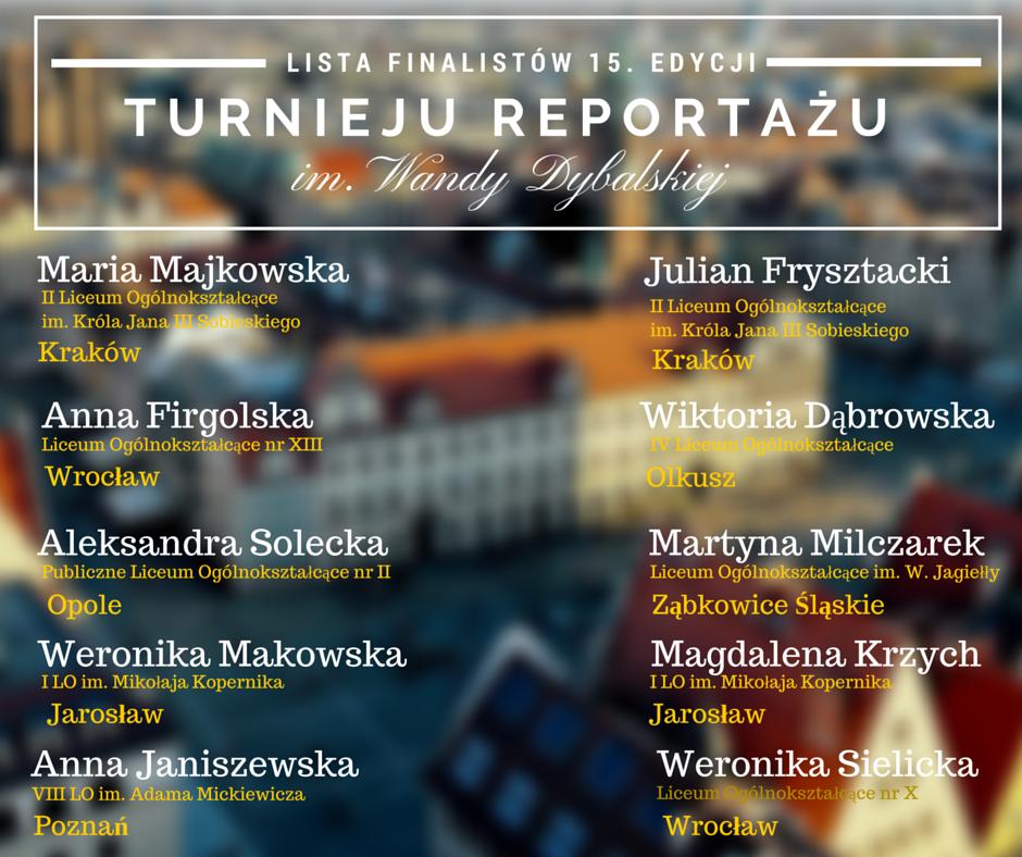 Turniej Reportażu im. Wandy Dybalskiej 2016