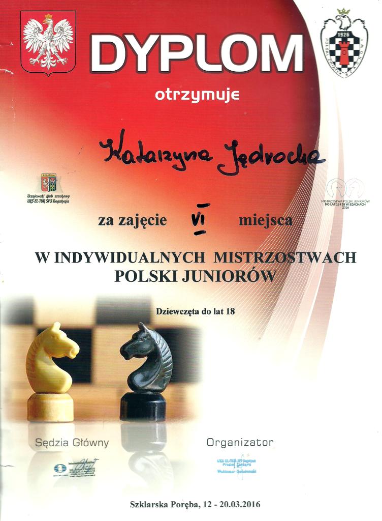 Indywidualne Mistrzostwa Polski Juniorów w szachach 2016