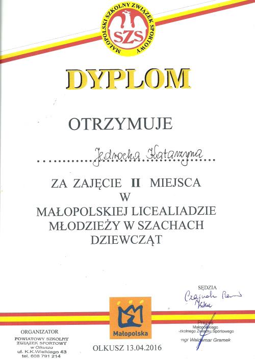Małopolska Licealiada Młodzieży w Szachach Dziewcząt 2015-2016