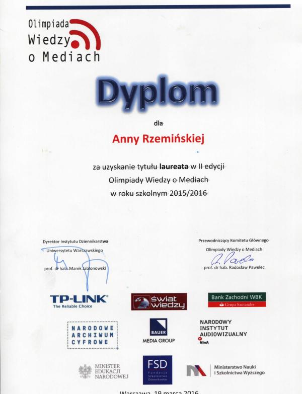 Olimpiada Wiedzy o Mediach 2015-2016 2