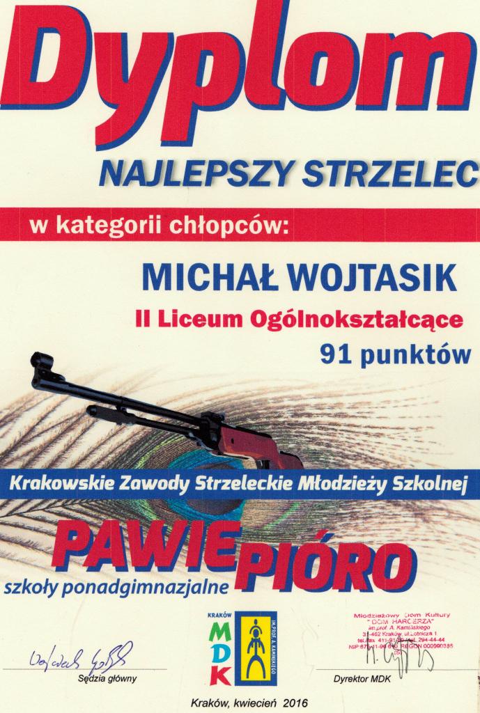 """Krakowskie Zawody Młodzieży Szkolnej Strzeleckie """"O Pawie Pióro 2016"""" indywidualnie"""