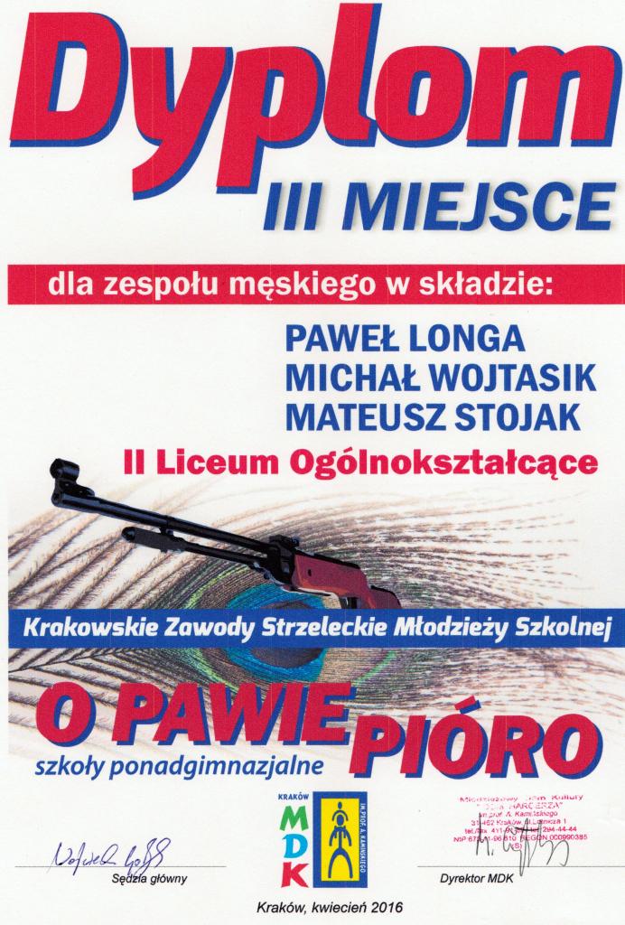 """Krakowskie Zawody Młodzieży Szkolnej Strzeleckie """"O Pawie Pióro"""" 2016 drużynowo"""