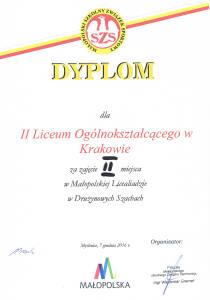 Wicemistrzowie Małopolska Licealiada Drużynowe Szachy 2016