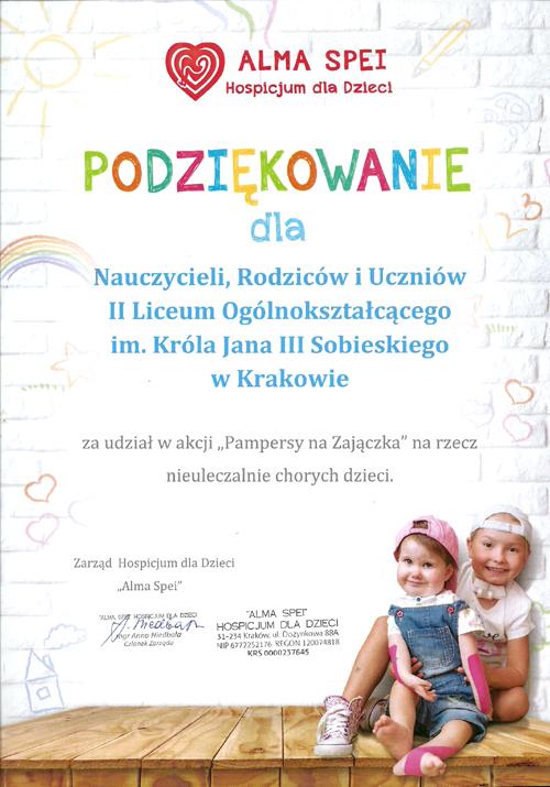 """Podziękowanie za udział w akcji """"Pampersy na Zajączka"""" 2017"""