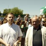 Mecz piłki nożnej Sobieski-Nowodworek  2017, dyrektorzy Jacek Kaczor i Marek Stępski