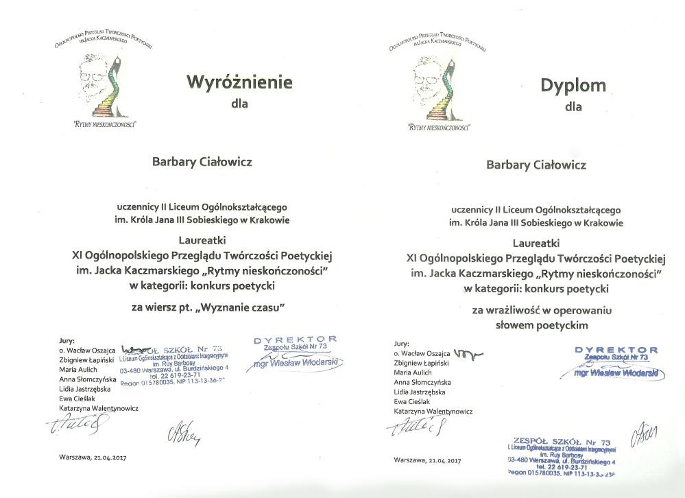 Laureatka  XI Ogólnopolskiego Przeglądu Twórczości Poetyckiej im. Jacka Kaczmarskiego 2017